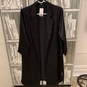 Forever 21 Open Front Satin Longline Jacket Coat M